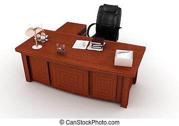 íróasztal, fehér, végrehajtó, 3