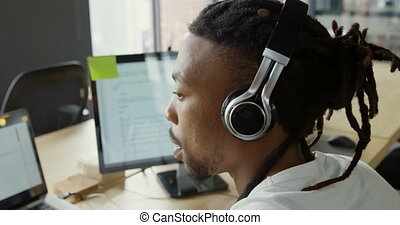 íróasztal, hím, dolgozó, végrehajtó, 4k, hivatal, számítógép
