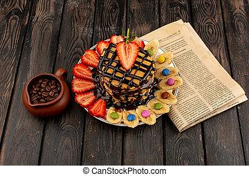 íróasztal, palacsinták, kilátás, gyümölcs, tető, barna