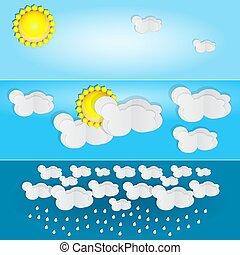 írógépen ír, weather., nyár, különböző, nap, banner.