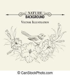 írisz, madár, flower., ülés