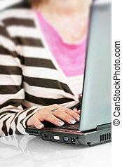 írja, nő, computer billentyűzet