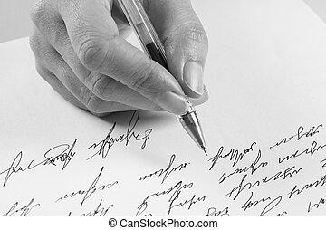 írja, nő, levél, kézírásos