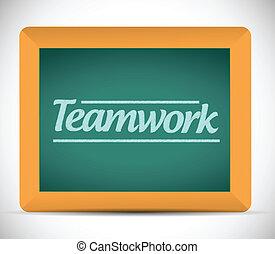 írott, üzenet, csapatmunka, chalkboard