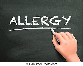 írott, allergia, szó, kéz