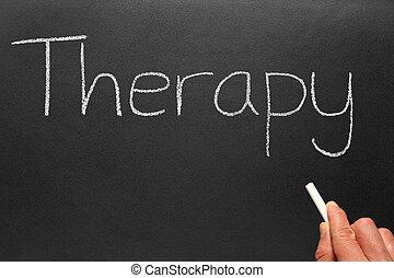 írott, blackboard., terápia