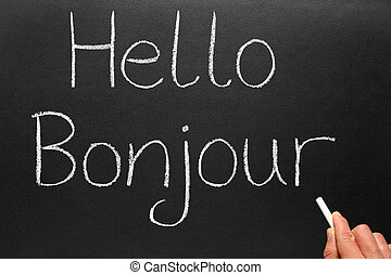 írott, bonjour, blackboard., szia, francia