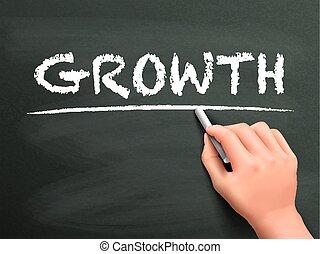 írott, növekedés, szó, kéz