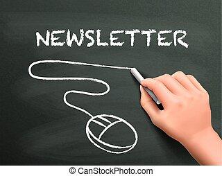 írott, newsletter, szó, kéz