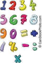 írott, számok, színes, kéz