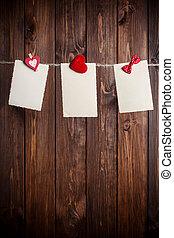 ív, három, ruhaszárító kötél, öreg, dolgozat, függő, piros, íj