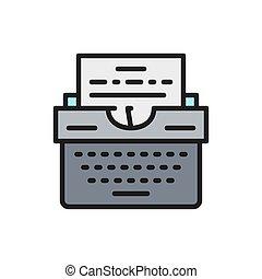 ív, icon., szöveg, írógép, lakás, befest prints