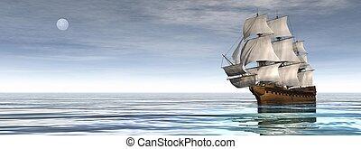 óceán, -, öreg, kereskedelmi, hajó, render, 3