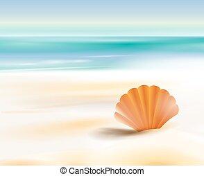 óceán, homokos, költség, tengerpart