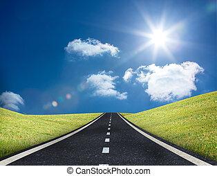 ólmozás, út, ki, horizont
