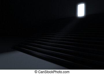 ólmozás, lépések, fény, sötétség