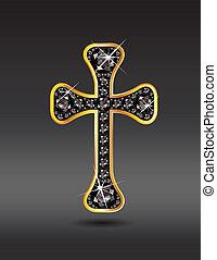 ónix, keresztény, kereszt, arany