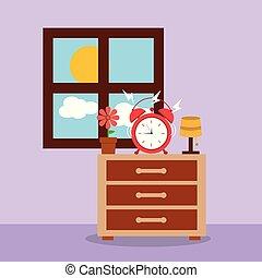 óra, ijedtség, légiriadó, ablak, éjjeliszekrény, reggel