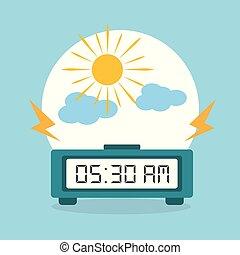 óra, nap, ijedtség, reggel, digitális, felhő