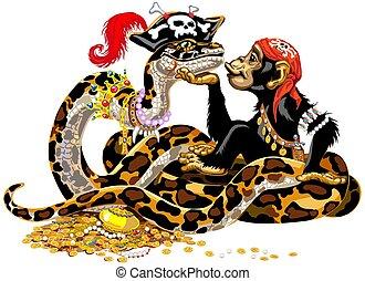 óriáskígyó, karikatúra, csimpánz, kalózkodik