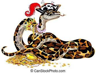 óriáskígyó, karikatúra, kalóz