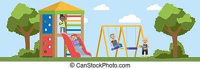 óvoda, boldog, játék, gyerekek, szabadban