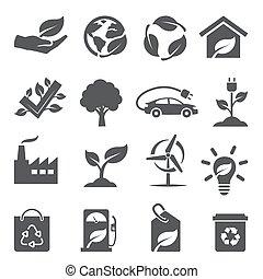 ökológia, állhatatos, fehér, ikonok, háttér