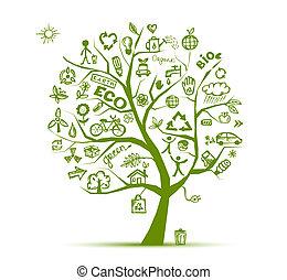 ökológia, fa, fogalom, zöld, tervezés, -e