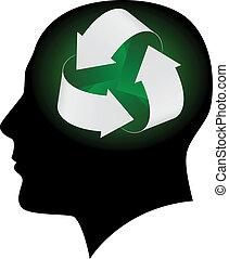 ökológia, fej, emberi, jelkép