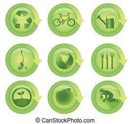 ökológiai, állhatatos, sima, nyílvesszö icon