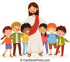 ölelgetés, gyerekek, jézus