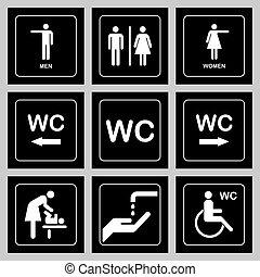 öltözék, ajtó, tányér, ikonok, set., férfiak, /, aláír, maradék, vécé, nők