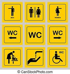 öltözék, ajtó, tányér, ikonok, set., férfiak, /, aláír, vécé, nyilvános illemhely, nők