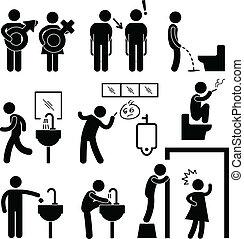 öltözék, furcsa, ikon, közönség, pictogram