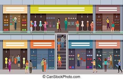 öltözék, mód, emberek, shops., mall., nagy, megvesz, cipők