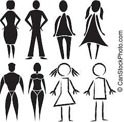 öltözék, nő, -, ember, cégtábla