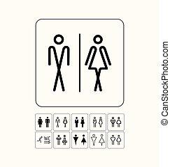 öltözék, vécé, door/wall, ikonok, set., tányér., eredeti