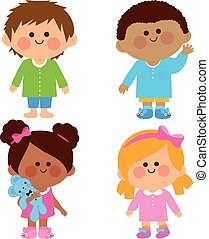 öltözött, ábra, -eik, vektor, pajamas., gyerekek