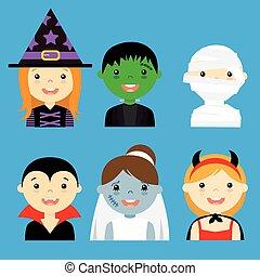 öltözött, hallowe, avatar, gyerekek
