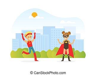 öltözött, karikatúra, móka, gyerekek, gyerekek, ábra, vektor, superhero, város, táj, játék, boldog, háttér, birtoklás, csinos, szabadban, jelmezbe öltöztet