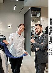 öltözet, ügyfél, dolgozó, bolt, konzulens