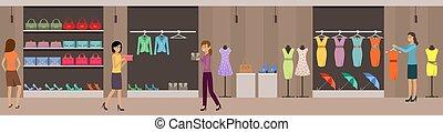 öltözet, center., bevásárlás, women's, élelmiszer áruház, bolt, shoes.