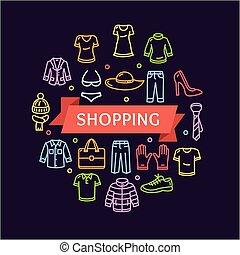 öltözet, concept., vektor, bevásárlás