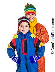 öltözet, gyerekek, sport, tél, két