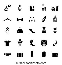 öltözet, osztályozás, kiegészítő, fekete, ikonok