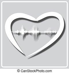 ön, ábrázol, lenget, szív, hangzik, szürke, szeret, ikon