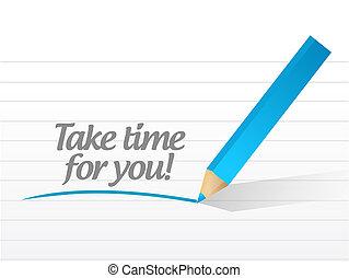 ön, idő, üzenet, tervezés, fog, ábra