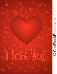 ön, szeret, kártya