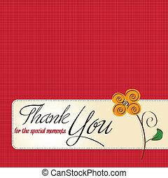 ön, virág, hálát ad, kártya, köszönés