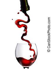 öntés, talpas pohár, elszigetelt, pohár, white piros, bor